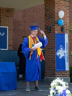 Oyster River High School graduate Ty Mountain after receiving his diploma during the 2020 graduation ceremony on Friday, June 12.
