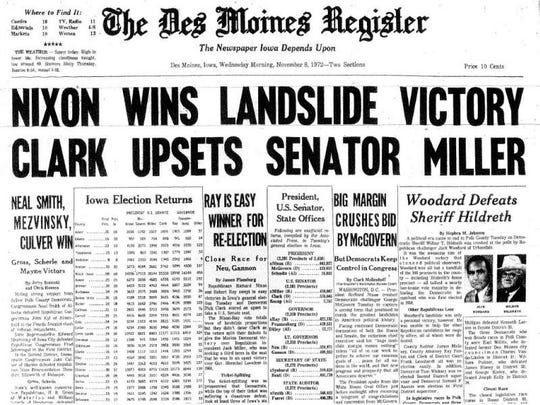 1972: Republican incumbent Richard Nixon defeats Democrat George McGovern.