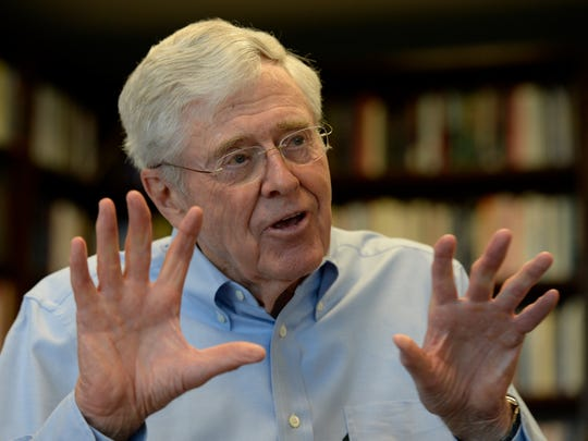 Charles Koch at his company headquarters in Wichita on April 21, 2015.