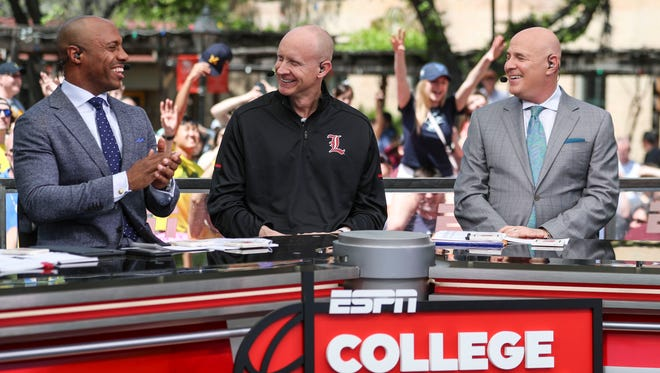 'You have a thousand things going through your mind,' said Chris Mack. 'Sleep's overrated. I've never been a big nap guy.' Mack was in San Antonio, first at the National Association of Basketball Coaches on Friday then the Final Four on Saturday. Mack didn't seek attention but was sought after by radio and TV for interviews, such as a guest on ESPN's College Gameday show before the start of the Final Four games in San Antonio, Texas. March 31, 2018.
