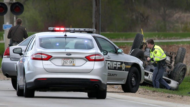 A fatal roll over crash on State 15 just east of Manley Road Wednesday, May 4, 2016 west of Greenville, Wis.