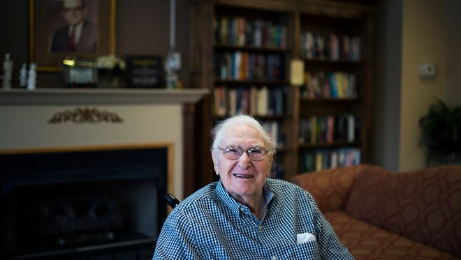 Sam Wiseman, 99, poses for a portrait Friday, March 17 in Cherry Hill.