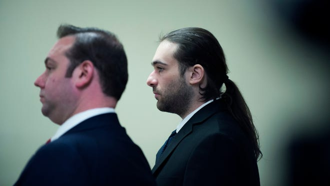"""David """"DJ"""" Creato, right, appears in court during day twelve of his trial in connection with the death of his 3-year-old son Wednesday, May 24, 2017 in Camden."""