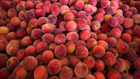 A crate of peaches are ready to be washed and sorted at Holtzhauser Farms in Mullica Hill.