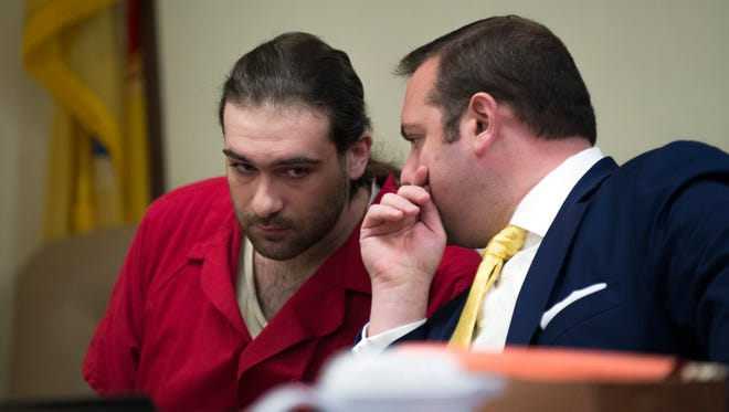 """David """"DJ"""" Creato leans in to listen to his lawyer Richard Fushino Jr. during a status hearing Wednesday, July 5, 2017 at the Camden County Hall of Justice. Following a mistrial back on May 31, a new trial is set to start on September 11, 2017."""