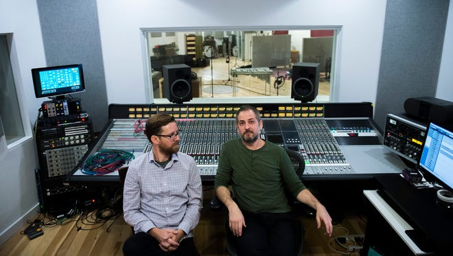 Gradwell House founders Steve Poponi, left, and Dave Downham inside their main control room at the new studio space Tuesday, Oct. 3, 2017 in Haddon Heights.