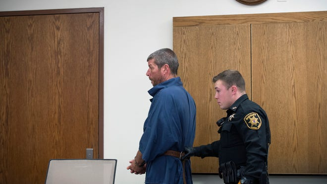 Mark Lyczak, 44, of Burlington County, appears in court Friday, Jan. 5, 2018 in Camden, N.J. for a detention hearing after being charged with the deaths of Colleen Brownell, 48, and Alysia McCloskey, 41, as well as attempting to kill a third Burlington County woman on December 30, 2017. The full hearing will be postponed two weeks.