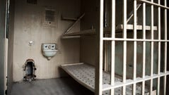 An old jail cell on the sixth floor of City Hall Friday,