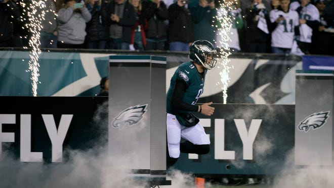 Eagles' Nick Foles (9) takes the field before an NFC Championship playoff game against the Minnesota Vikings Sunday, Jan. 21, 2018 in Philadelphia.