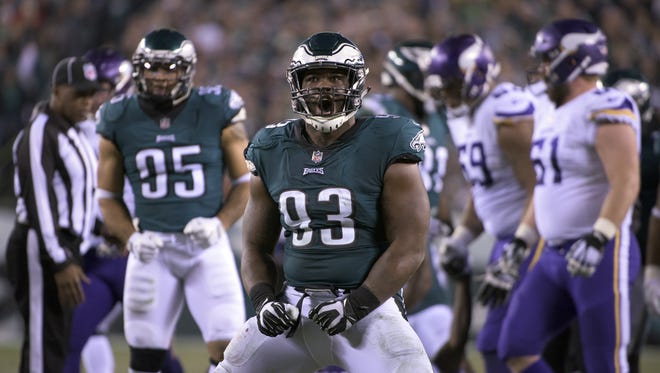 Eagles' Tim Jernigan (93) celebrates after tackling Vikings' Latavius Murray during an NFC Championship playoff game Sunday, Jan. 21, 2018 in Philadelphia.