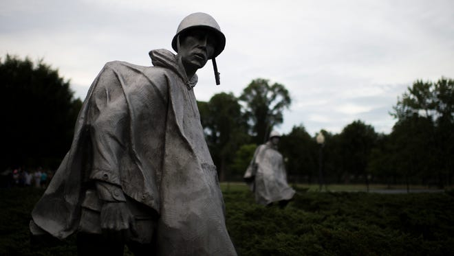 Up close with one of the 19 sculptures by Frank Gaylord Sunday, Sept. 19, 2016 at the Korean War Memorial in Washington, D.C.