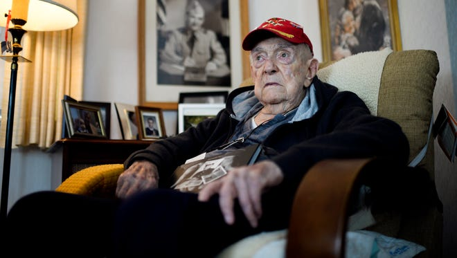 Retired Army Lt. Col. John 'Jake' Parvin, who will turn 100 next month, inside his home in Pennsauken, N.J. Friday, May 4, 2018.