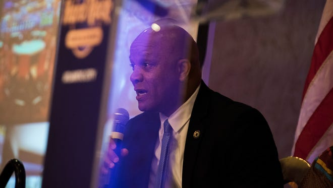 Atlantic City Mayor Frank Gilliam speaks during a press conference during opening day at the Hard Rock Hotel & Casino in June.