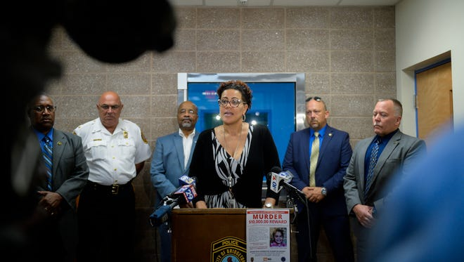 Cumberland County Prosecutor Jennifer Webb-McRae speaks during a press conference regarding the death of 9-year-old Jennifer Trejo Tuesday, July 17, 2018 in Bridgeton, N.J. Trejo was killed by a stray bullet that went through a wall of her home at approximately 12:30 a.m. Tuesday.