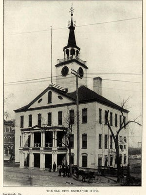 This is a photo from 1799 of the city exchange building. City offices were located here until the current city hall was built and opened in 1904. Photo is from archimaps.tumblr.com