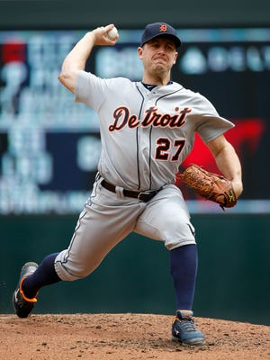 Detroit Tigers starting pitcher Jordan Zimmermann delivers to the Minnesota Twins during the third inning Saturday, April 30, 2016.