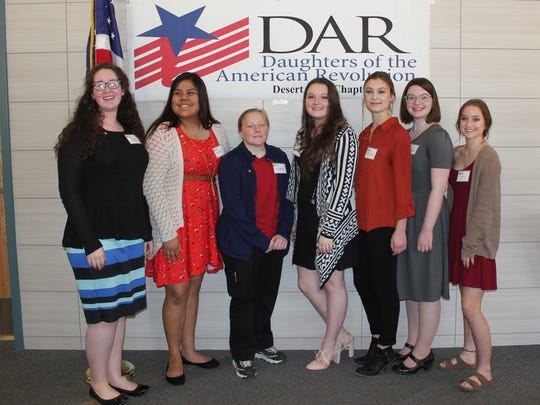 Kamea Wheeler, left, Caitlyn Denet, McKenna Martinelli, Grace Mesarchik, Samantha Dye, Sierra VanRiper and Kortney Horn are among the students earning Good Citizen awards from the Desert Gold Chapter of the Daughters of the American Revolution. Recipient Samantha Yazzie is not pictured.