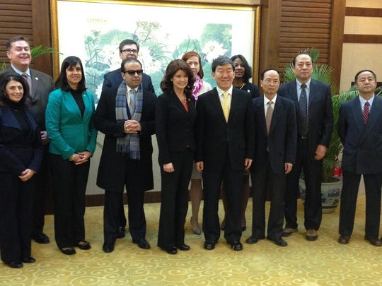 Lt. Gov. Rebecca Kleefisch, center, with a delegation of Chinese and Wisconsin leaders on her recent trade trip.