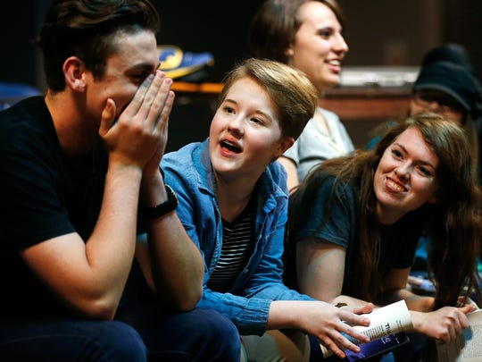 "Mikayla Baker (middle), 14, and Kaya Gray (right), 16, share a moment with Nathan Peterson (left), 16, during a rehearsal of the play ""This Is A Test"" by students in the Kitchen Sink Acting Workshop at Graceway Baptist Church in Springfield, Mo. on April 18, 2017."