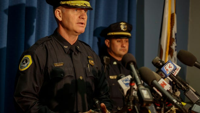 Des Moines police chief Dana Wingert told media that the two officers shot and killed overnight on Wednesday did not deserve such a 'cowardly' act of violence. Wingert addressed media at the Des Moines Police Department on Thursday morning.