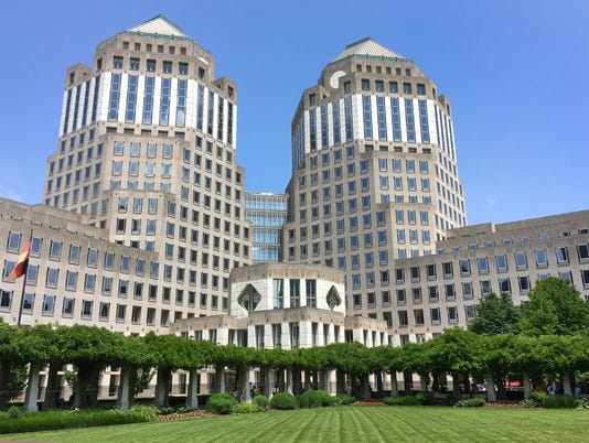 May 27, 2017: Procter & Gamble, Cincinnati, P & G, downtown, global business, building mug, Liz Dufour