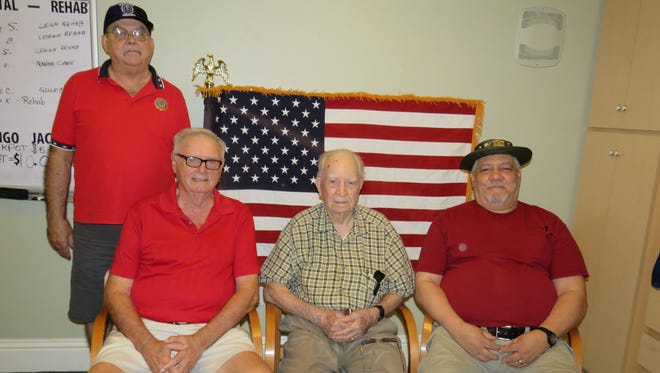From left: John Bennett, David Mills, George Edward Becker and Luis Sanchez recently gathered at Fountain Crest Retirement Community, Lehigh Acres.