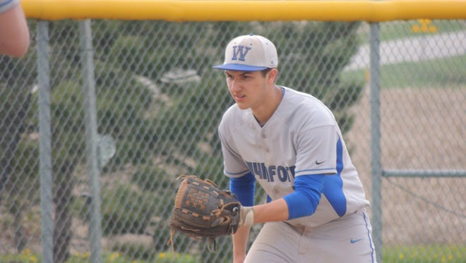 Wynford senior Alex Crall prepares for a ground ball on Monday afternoon in a 3-1 win over Seneca East.