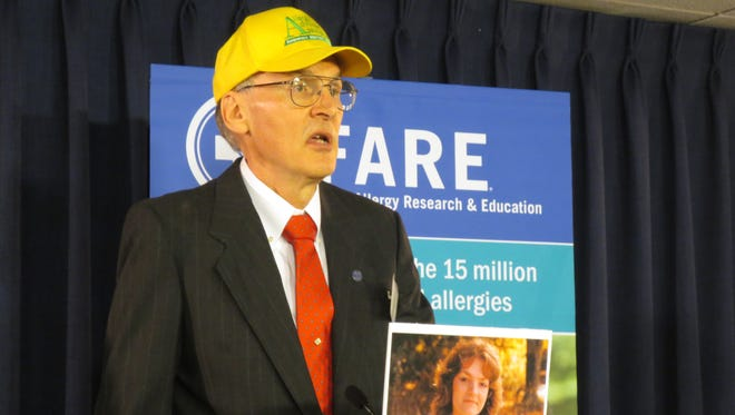 Jon Terry, founder of the Allergy Advocacy Association based in Brockport, Monroe County, speaks at a news conference in Albany on May 4, 2016