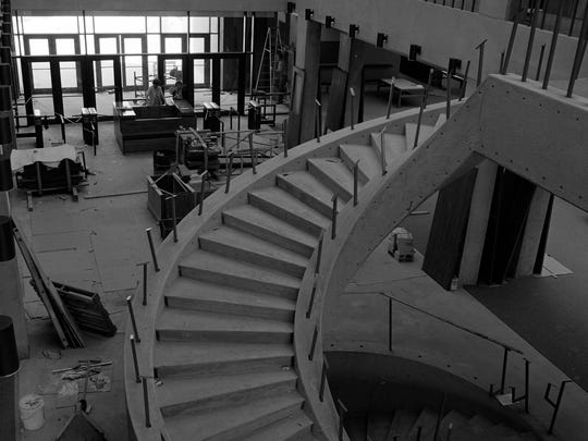The staircase in Bracken Library is shown under construction