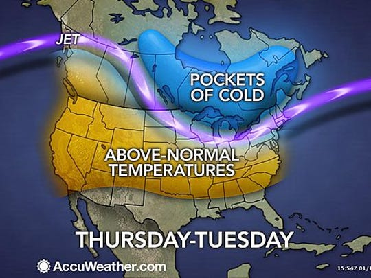 Much of the country will see above-average temperatures