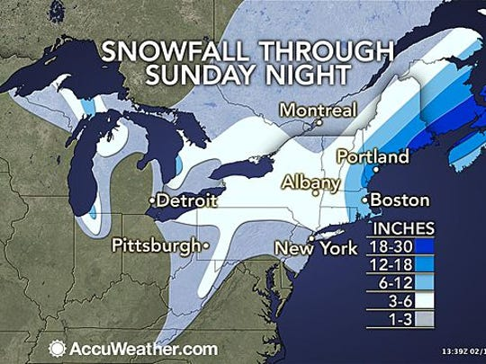 Parts of New England could see more than 2 feet of