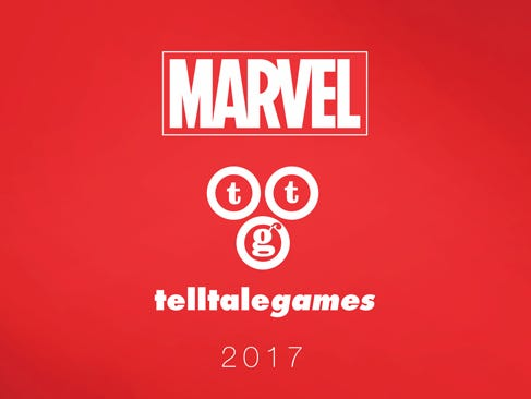 A logo promoting the new partnership between Marvel and Telltale Games