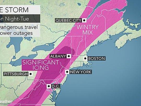 A wintry mix of precipitation will make travel hazardous.