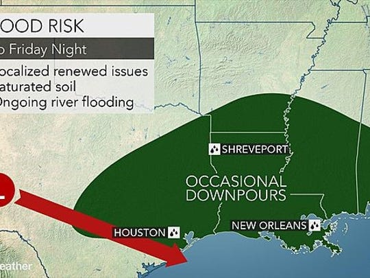 This AccuWeather graphic shows flood risk for Louisiana beginning Friday, March 18, 2016.