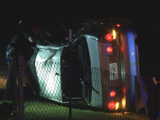 This car overturned on Johnston Street early Friday