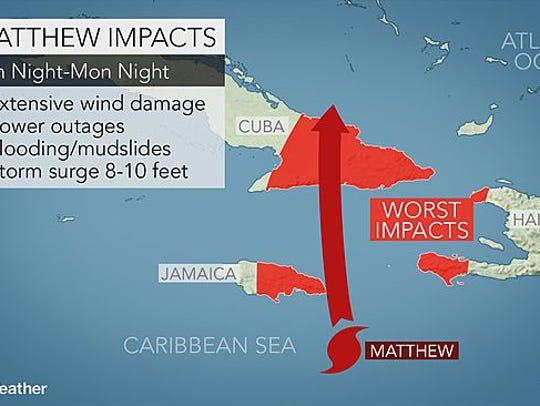 Matthew impacts Sunday night and Monday night.