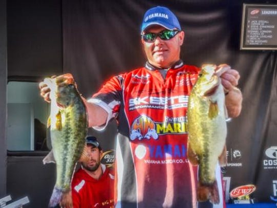 Blanchard BFL angler Randy Deaver holds up to of the