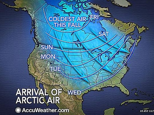 Arctic air will roar into the central and eastern USA