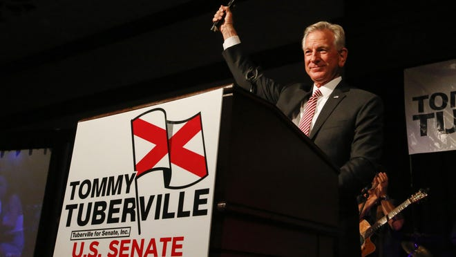 Former Auburn coach, Tommy Tuberville, speaks to supporters after he defeated Senator Jeff Sessions in the runoff election on Tuesday, July 14, in Montgomery, Ala.