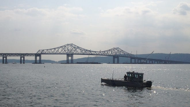 A recent view of the Tappan Zee Bridge and ongoing construction on the replacement span.