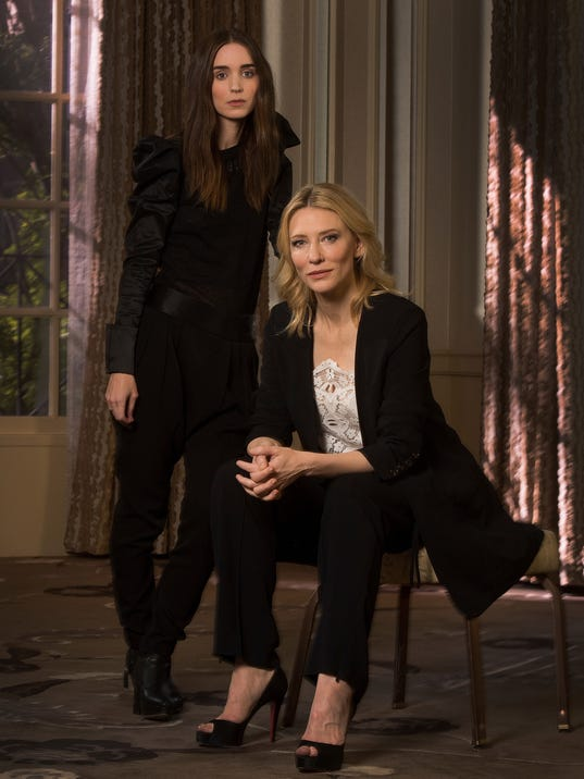 Cate Blanchett (seated) and Rooney Mara, who co-star in 'Carol,' at ...