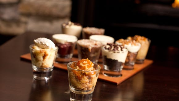Shot glass desserts with seasonal treats.