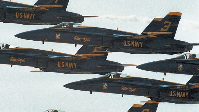 The Blue Angels soar through the sky above Eglin Air Force Base during the base's open house in march.
