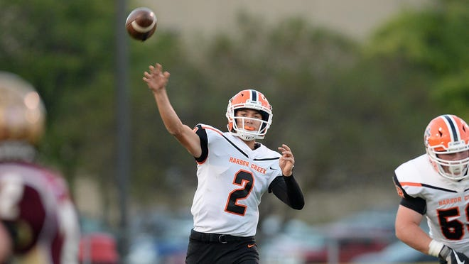 Harbor Creek High School senior Casey Smith throws in the first half against North East at Ted Miller Stadium on Friday, Sept. 18, 2020, in North East.