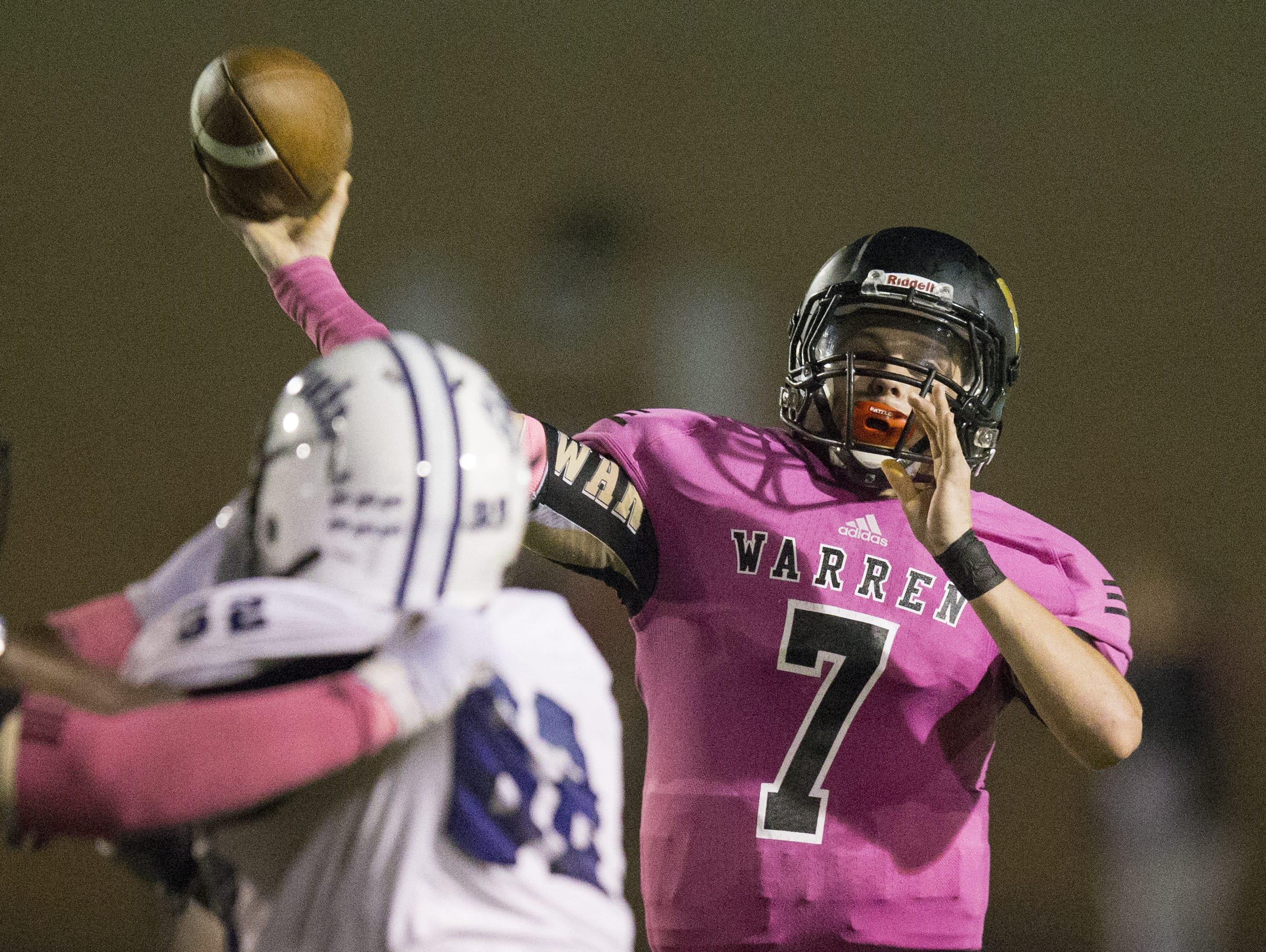 Zach Summeier, quarterback for Warren Central, throws, Ben Davis at Warren Central High School football, Indianapolis, Friday, Sept. 16, 2016. WCHS won 35-34.