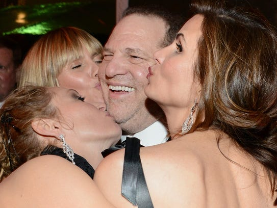 Harvey Weinstein with Heidi Klum, and actress Uma Thurman