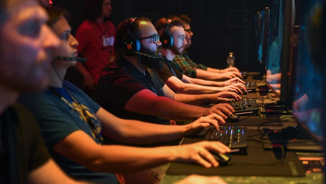 May 17, 2018; Hawthorne, CA, USA; Gamers play Call of Duty: Black Ops 4 during a reveal event at the Jet Center. Mandatory Credit: Robert Hanashiro-USA TODAY