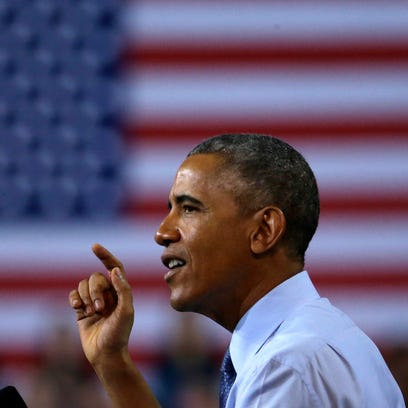 President Obama speaks during a post-State of the Union visit to the University of Kansas on Jan. 22, 2015.