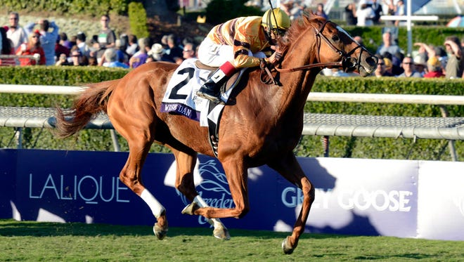 John Velazquez aboard Wise Dan sprints to victory in the Mile on turf at the Breeders' Cup Championships at Santa Anita Park last November.