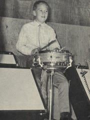 In an undated photo, a young Steve Presley is shown playing drums for the Presley family's music show in Branson.